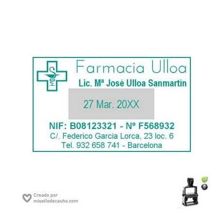 Sello Farmacia -Ulloa- fechador Trodat 5460 de 56x33mm
